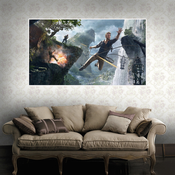 Ps4 Game Uncharted 4 Poster Oil Painting For Background Decoration