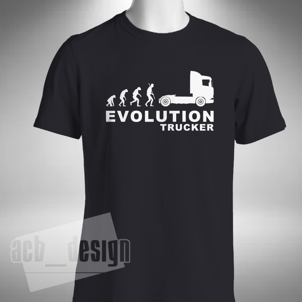 Evolution of Trucker Man Lorry Truck Driver T-Shirt TShirt