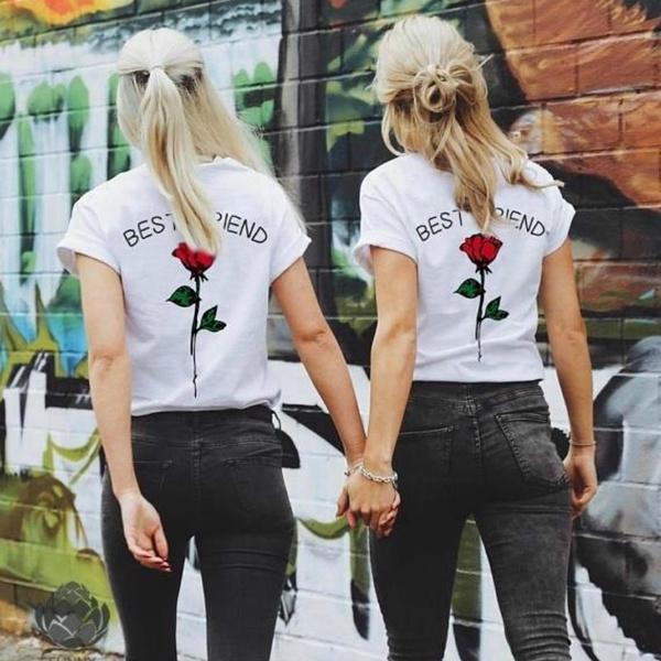641f3f1e5 2018 New BEST FRIEND Couples Shirts Matching Couple T-shirts BFF ...