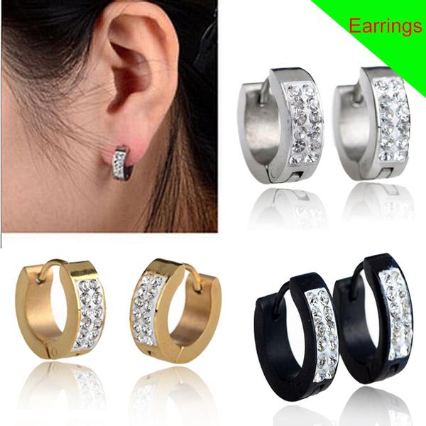 Ladies Mens Titanium Stainless Steel Huggie Hoop Earrings Small Hooped Sleeper