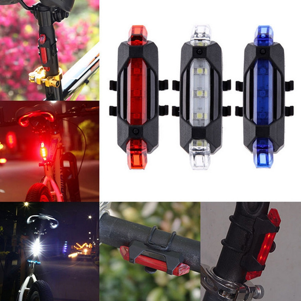Blue Cycling 5LED USB Rechargeable Bike Bicycle Tail Warning Light Rear Safety Y