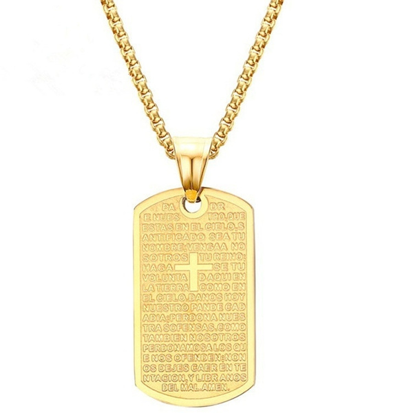 03365c69b530a Gold Plated Spanish Bible Cross Lord''s Prayer Necklace Dog Tag Pendant  With Chain Gold
