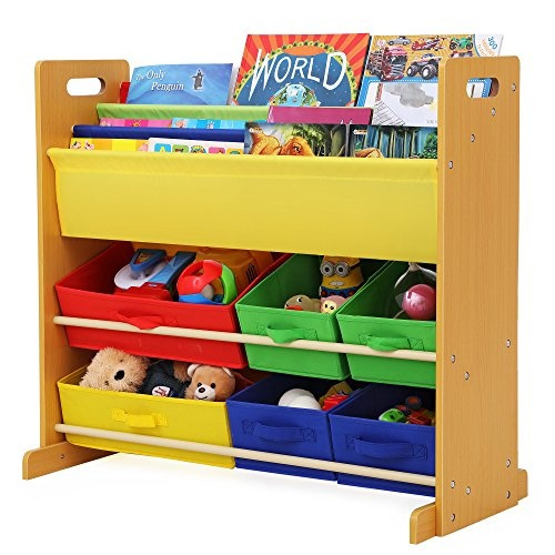 Wish | SONGMICS Kidsu0027 Toy Storage Unit Sling Bookcase Rack With 6 Fabric  Bins And 3 Tier Book Shelf Multicolor UGKR48Y