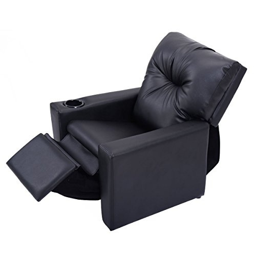 Wish | Kids Recliner With Cup Holder Black Leather Sofa Chair Recliners  Chairs For Children