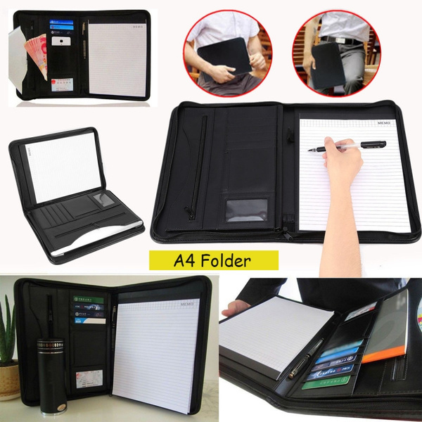 PU Leather Zipped Portfolio Business Conference Folder Organiser Case Bag
