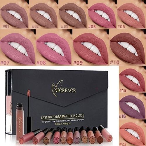 Pcsset maquillage Couleurs lot Rouge rouge Et 12 lot Levre Levre coffret A De Parfum Femme lèvres Mat Maquillage Beauté mw8Nnv0