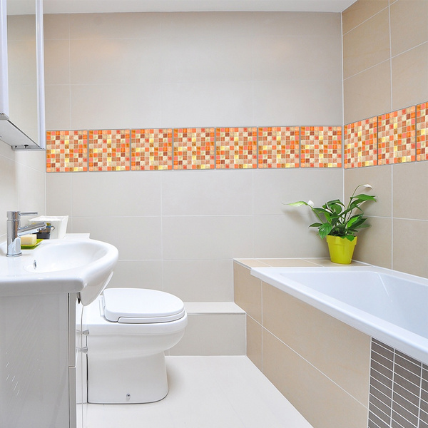 Wall Stickers Orange Mosaic Retro Tile Tiles Stickers Kitchen