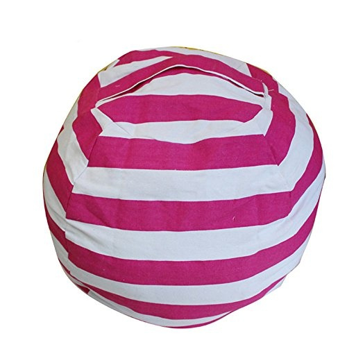 Terrific Kids Bean Bag Chair Stuffed Animal Storage Ehonestbuy Stripe Cotton Canvas Toy Organizer For Kids Bedroom Storage Solution For Plush Toys Towels Onthecornerstone Fun Painted Chair Ideas Images Onthecornerstoneorg