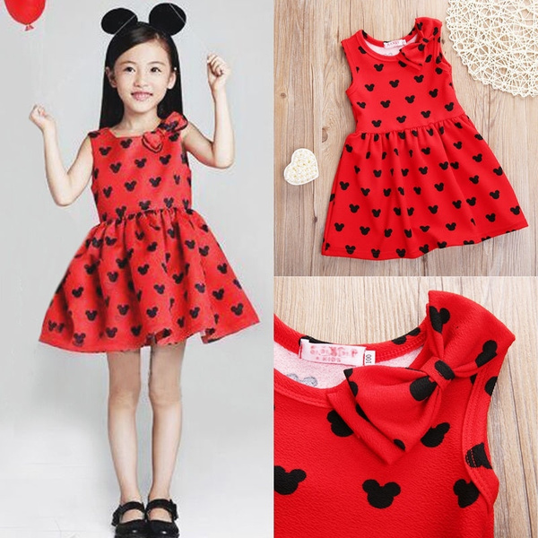 65cff9aa8c2 2018 Lovely Kids Baby Girls Toddler Clothes Minnie Mouse Party Dress ...