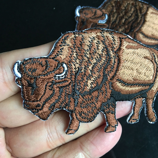 White American Bison//Buffalo Iron on Applique//Embroidered Patch