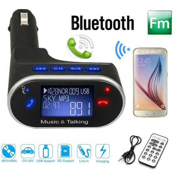 Wireless Bluetooth LCD FM Transmitter Modulator Car Kit MP3 Player SD w//Remote