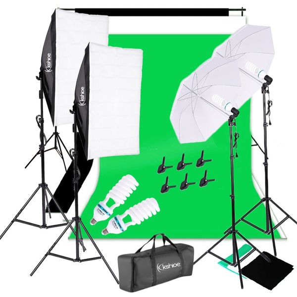 Kshioe Photo Video Studio Photography Continuous Lighting Kit Muslin Backdrop Stand Set by Wish
