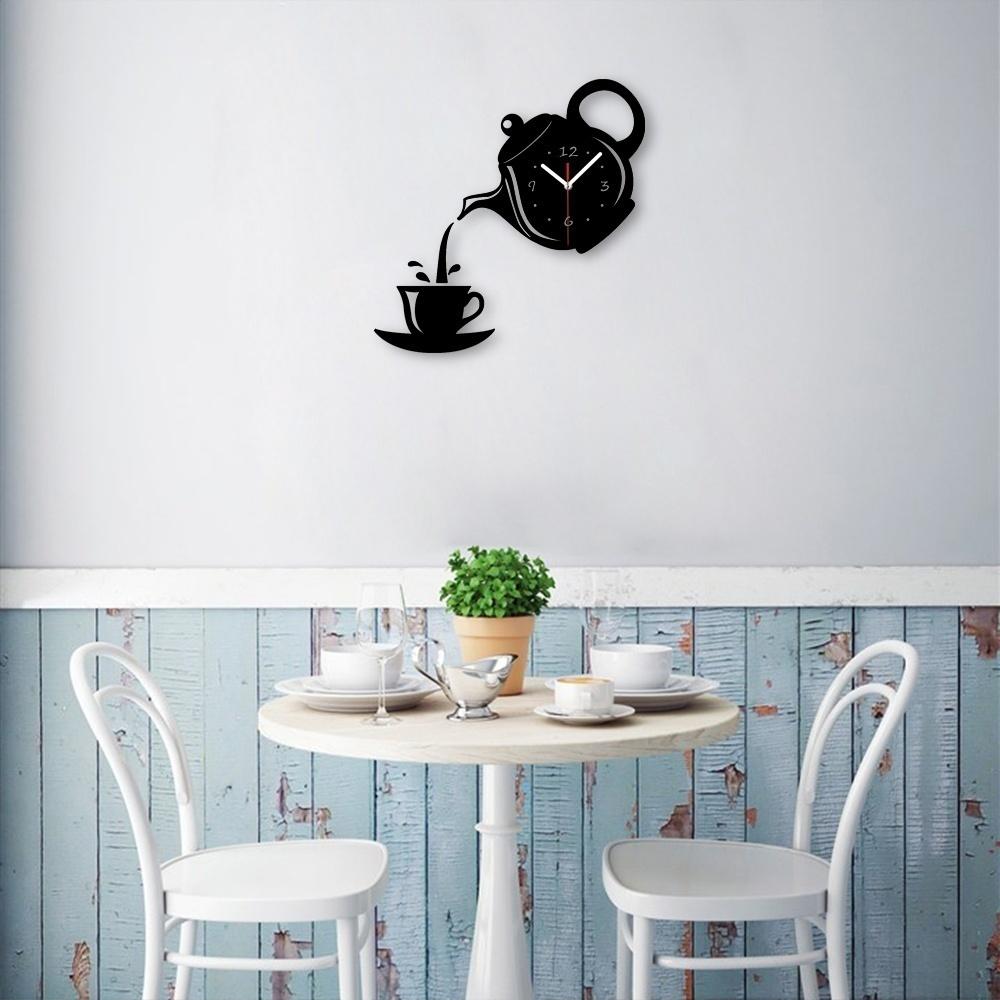 1*Wall Clock Coffee Cup Shaped Decorative Kitchen Wall Clocks Living ...