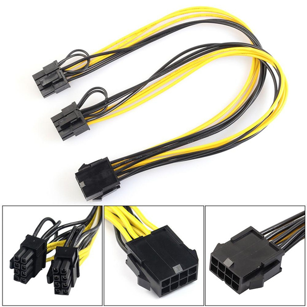 8 -pin Female to Dual 8 -pin Males PCI-E Power Cord CPU Graphics Card PCI-E  Express VGA Splitter Hub Power Cable 8P to Video Card Dual 8Pin (6 Pin+2