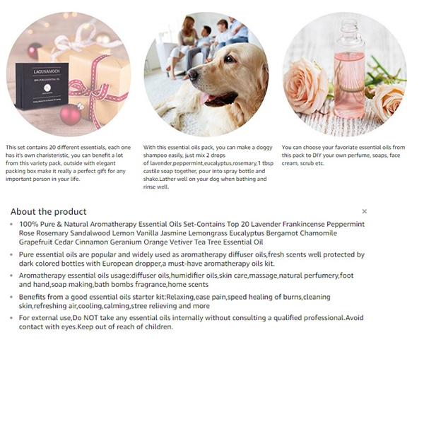Wish Lagunamoon Essential Oils Set Aromatherapy Premium