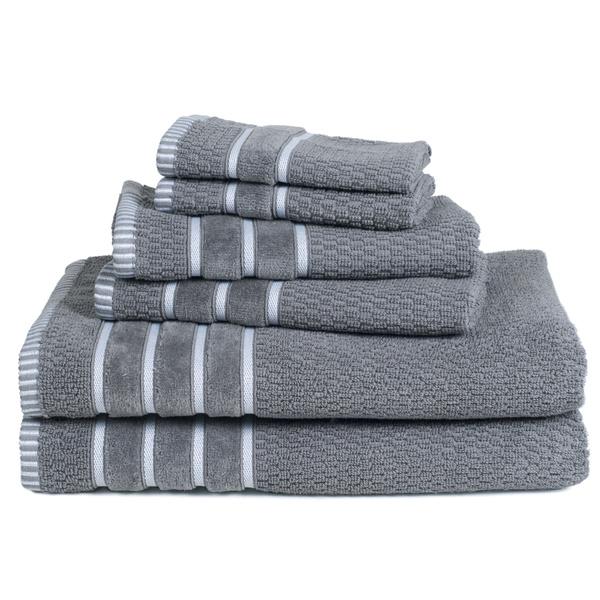 Rice Weave 100/% Cotton 6 Piece Cotton Towel Set Washclothes