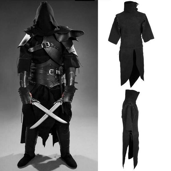 Medieval Renaissance Gothic Men Black Warrior Stand Collar Top Cosplay Costume