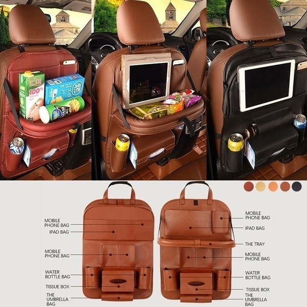 Car Backseat Organizer Pu Leather Auto Back Car Seat Organizer For