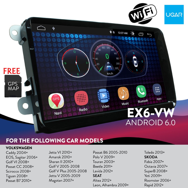 9 inch Android 6 0 Quad Core Full Touch Screen for VW Volkswagen + Wifi +  GPS + Bluetooth + AM/FM + MP3/4/5 + USB port x 3 + Aux Input + Backup  Camera