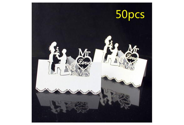 50pcs White Laser-Cut Wedding Party Table Place Card Name Cards Favor Decor New
