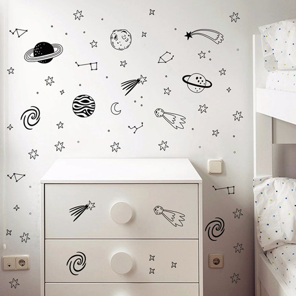 3d251373d8 Universe Space Wall Decals Star Planet Vinyl Wall Sticker Nursery ...