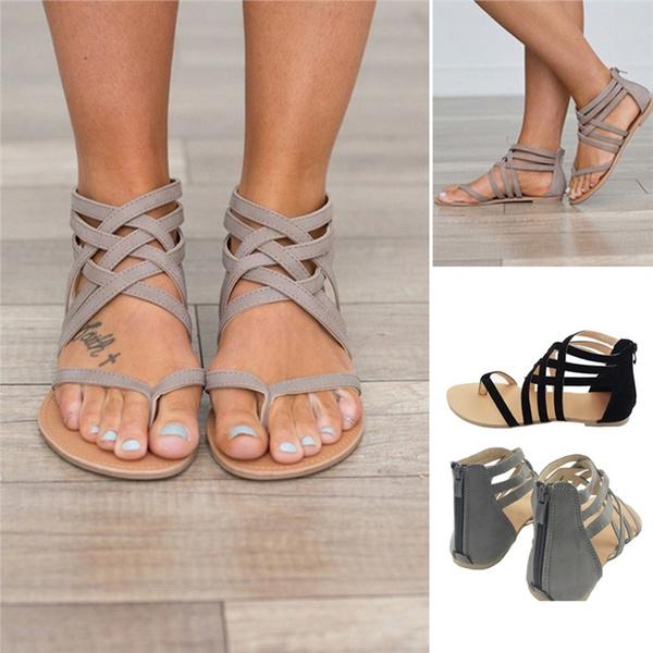 Zipper Women Gladiator Crisscross Flat Design Straps Sandal Thong Up wON8PZ0Xkn
