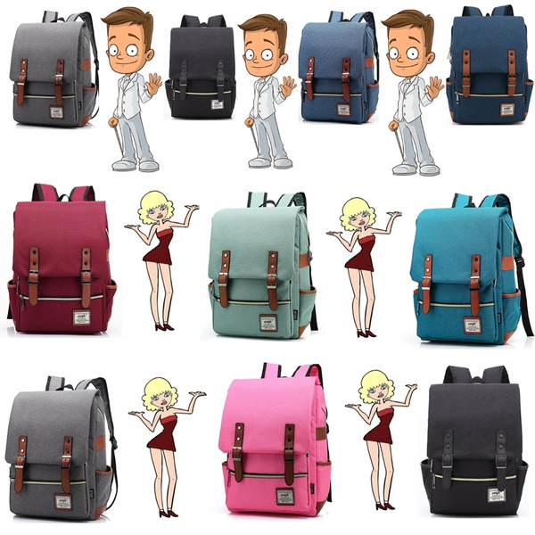 Student Boys Girls School College Backpack Fashion Retro Rucksack Travel Bag
