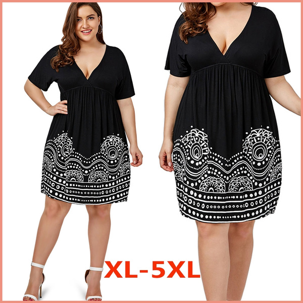 Women Low Cut Empire Waist Plus Size A Line Dress
