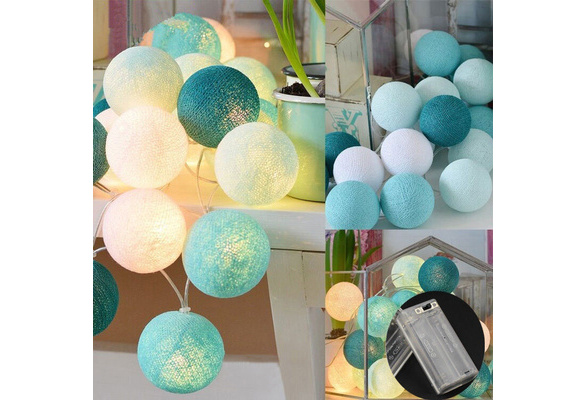 20 LED Colorful Cotton Ball LED String Lights for Patio Wedding Party Decor (Size: 2.2m)