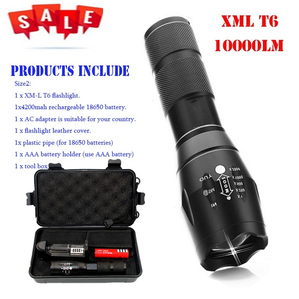 Z10 Flashlight A100 CREE LED Portable light Torch search waterproof lantern  5 Modes Zoomable 10000LM XML-T6 Camping