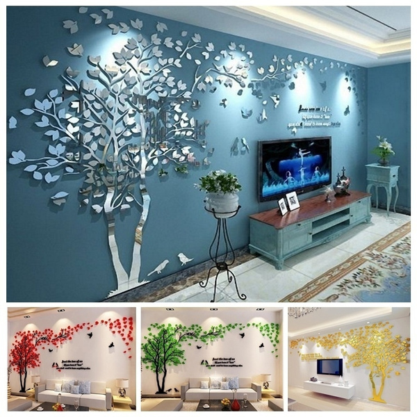 3d Mirror Tree Lovers Living Room Wall Stickers Acrylic Stereo Tv Sofa Backdrop Bedroom Warm Crystal Wall Stickers Affixed