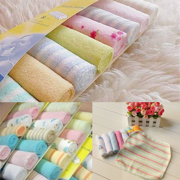 Infant Cotton 8pcs//Pack Towel Newborn Soft Towels Feeding Wipe Washcloth Baby