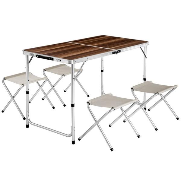 Aluminium Camping Table With 4 Chairs Koffertafel Met 4 Krukken Koffertisch Mit 4 Hockern Table De Camping Pliante Valise 4 Tabourets