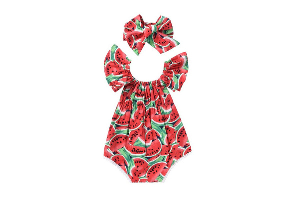 Womola Infant Baby Toddler Girls Summer Clothes Watermelon Print Sleeveless Backless Rompers Tassel Jumpsuit Casual Outfits