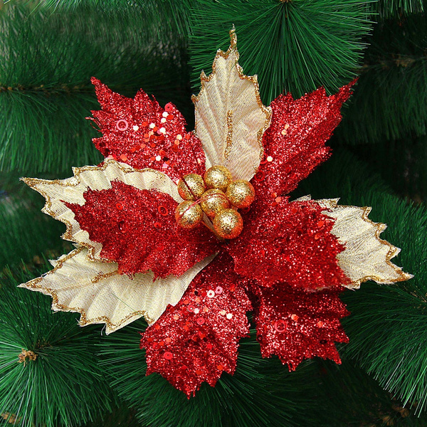 22cm Glitter Hollow Christmas Flower Wedding Party Decor Xmas Tree Ornaments