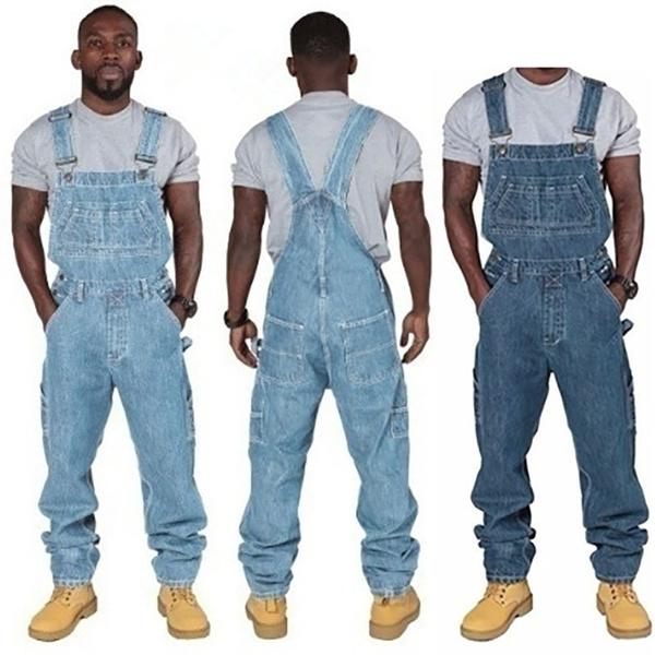 New Fashion Men Casual Full Length Denim Overalls Jumpsuit Plus Size Bib  Overalls Men Clothing Biker Pencil Long Pants Men Fitness Jeans with  Pockets ...