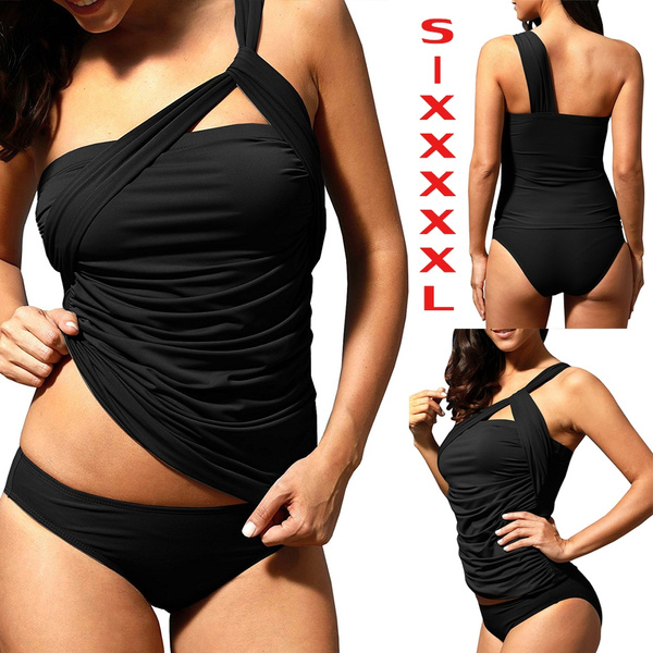 f05ac3ef3 Swimsuits for Women S-XXXXXL Plus Size Swimwear One Shoulder Ruched ...