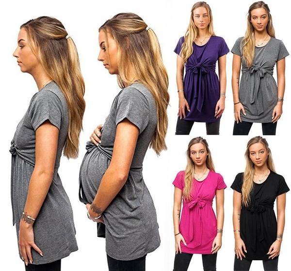 cf71b7001d5d7f Fashion Maternity T Shirts Nursing Tops Pure Color Short Sleeves ...