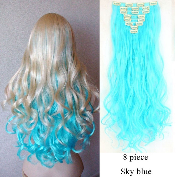 Wish Sky Blue Soft Curlystraight Clip In Hair Extensions 2426