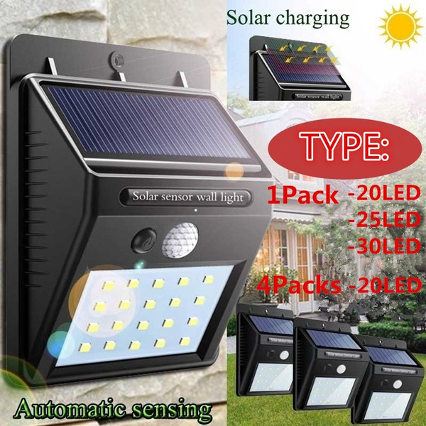 Motion Sensor 25 LED Lights Wall Solar Powered Garden Outside Security Lamp