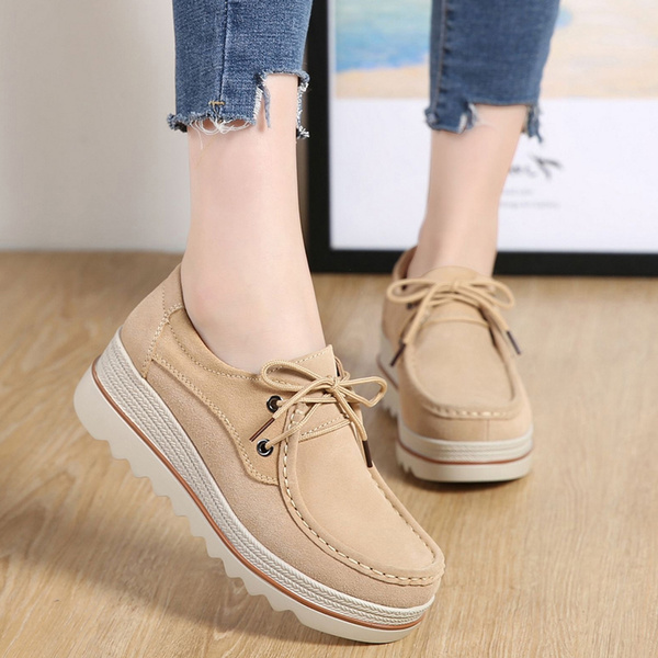 a0e0eeab355f Lakerom Women Slip On Loafers Platform Comfort Suede Moccasins Wide Low Top  Wedge Shoes Work Shoes