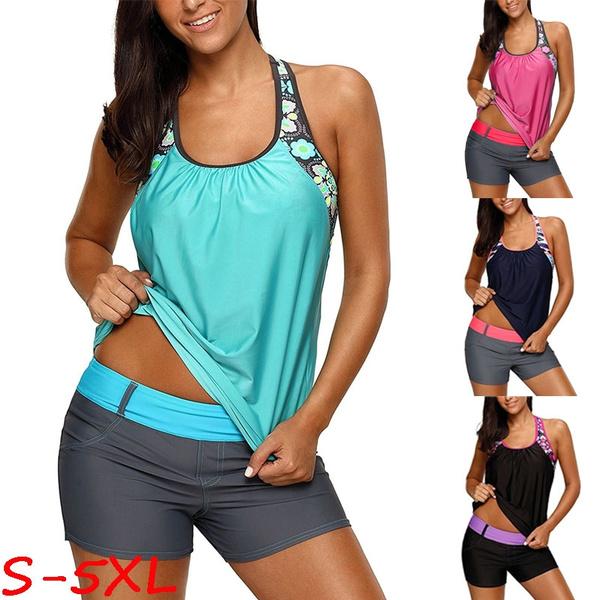 Plus Size, Floral print, two piece bathing suit, push up swimsuit
