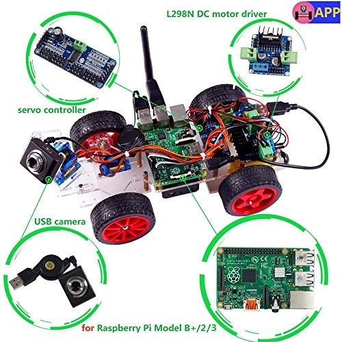 SunFounder Model Car kit Video Camera for Raspberry Pi 3/2/B+/B RC Servo  Motor Remote Control Robotics Electronic Toys Game Kids App Detail  Manual(Not