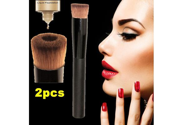 2PC Professional New Groove Design Pro Cosmetic Makeup Tool Soft Contour Face Powder Foundation Blush Liquid Brush (Color: Black )