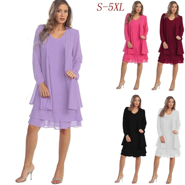 Women Plus Size Fat MM 2 Piece Dress Ladies Vintage Sheer Mesh Elegant  Jacket Dress