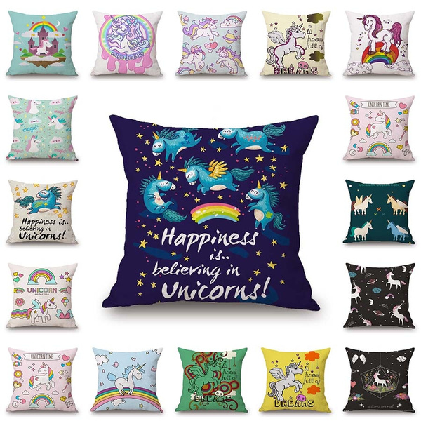 Tremendous 18 Inch Lovely Cartoon Rainbow Unicorn Pillowcases Sofa Chair Bed Square Cushion Cover Unicorn Pillow Cover Unicorn Pillow Case Covers Caraccident5 Cool Chair Designs And Ideas Caraccident5Info