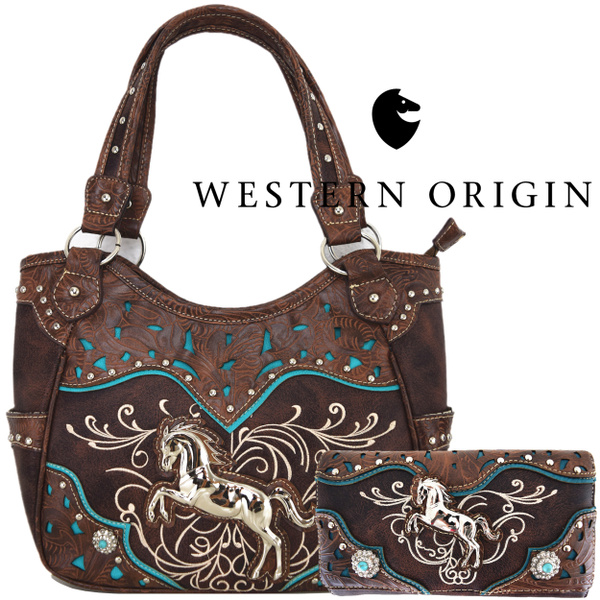 b5d5983f07 Western Style Horse Cowgirl Concealed Carry Handbags Women Tooled Leather  Totes Laser Cut Country Purses Wallet Set Brown