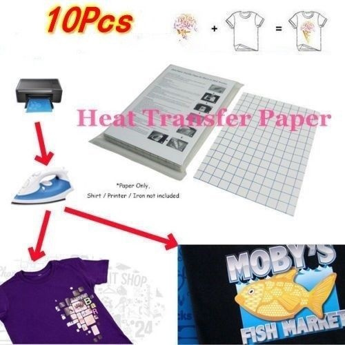 10 Sheets Iron on Inkjet Heat Transfer Printing Paper for T Shirts A4 Size  Iron on Ink Transfer Paper Thermal Transfer Paper (Size: 10 Pcs) (Size: