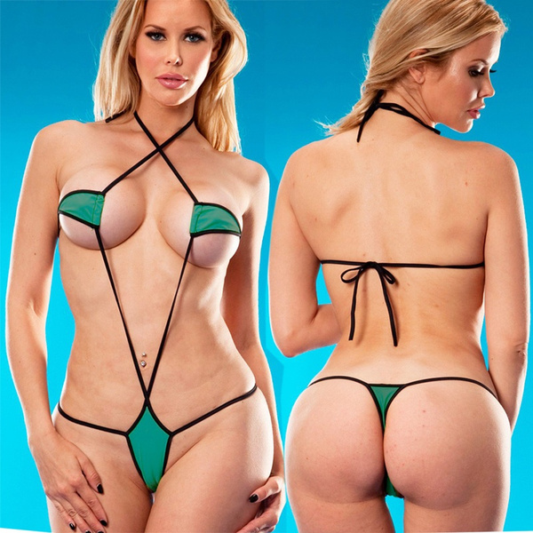 554e6ce197 SHERRYLO Green And Black Micro Monokini Bikini G String One Piece ...
