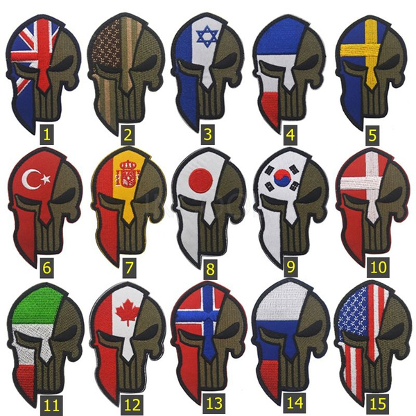 1 PCS European American Israel Flag Embroidery Patch Skull Punisher Spartan  Flag Morale Patch Tactical Emblem Military Badges Appliques Embroidered